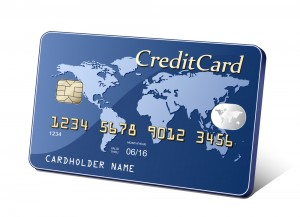 Embossed plastic payment card. Payment concept