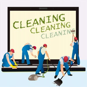 Five Cleaners With Big Notebook Dark Screen.eps