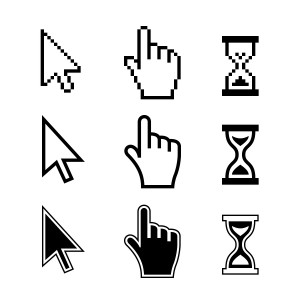 Pixel cursors icons. Hand Arrow Hourglass