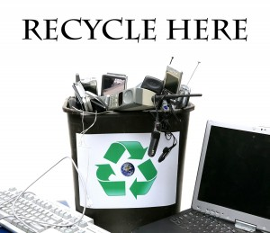 """recycle bin filled with old """"e-waste"""" for recycling of out dated"""